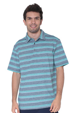 AVA Athletica Men's Collared Moisture-Wicking Active Wear Broad Striped T-Shirt Teal Blue