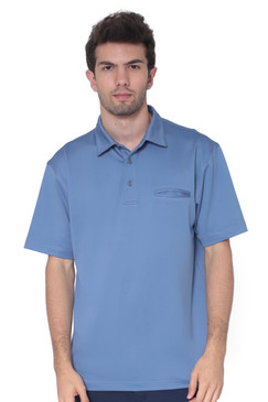 AVA Athletica Men's Classic Polo Quick-Dry Golf, Tennis, T-Shirt with Pocket Colony Blue