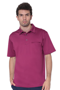 AVA Athletica Men's Classic Polo Quick-Dry Golf, Tennis, T-Shirt with Pocket Berry
