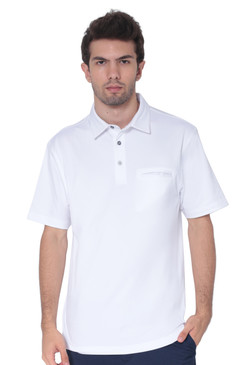 AVA Athletica Men's Classic Polo Quick-Dry Golf, Tennis, T-Shirt with Pocket Pure White