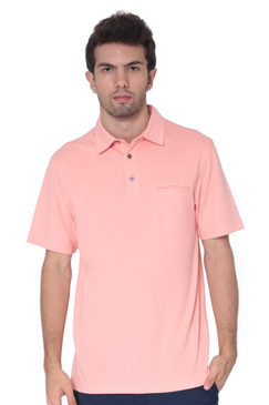 AVA Athletica Men's Classic Polo Quick-Dry Golf, Tennis, T-Shirt with Pocket Peach