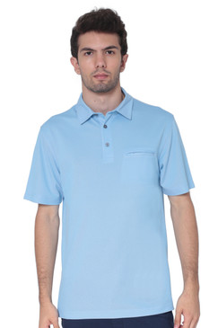 AVA Athletica Men's Classic Polo Quick-Dry Golf, Tennis, T-Shirt with Pocket Light Blue