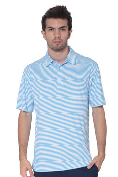 AVA Athletica Men's Polo Collar Moisture-Wick Active Wear Fine Striped T-Shirt Alaskan Blue