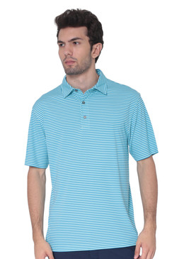 AVA Athletica Men's Polo Collar Moisture-Wick Active Wear Fine Striped T-Shirt Malibu Blue