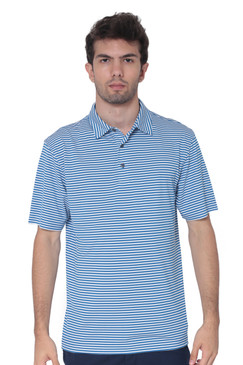 AVA Athletica Men's Polo Collar Moisture-Wick Active Wear Fine Striped T-Shirt Blue