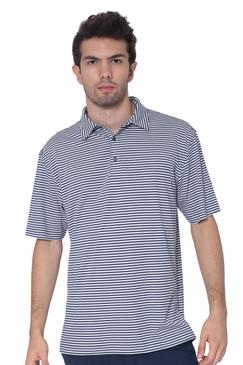 AVA Athletica Men's Polo Collar Moisture-Wick Active Wear Fine Striped T-Shirt Navy