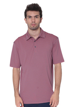 AVA Athletica Men's Polo Collar Moisture-Wick Active Wear Fine Striped T-Shirt Rose