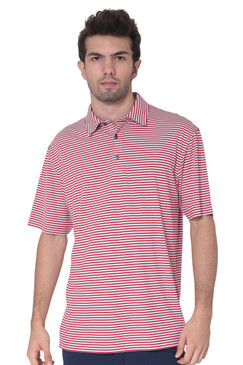 AVA Athletica Men's Polo Collar Moisture-Wick Active Wear Fine Striped T-Shirt Red