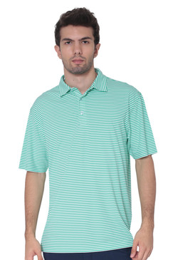 AVA Athletica Men's Polo Collar Moisture-Wick Active Wear Fine Striped T-Shirt Jade
