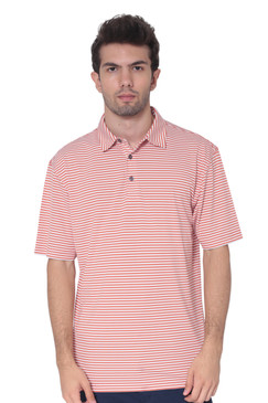 AVA Athletica Men's Polo Collar Moisture-Wick Active Wear Fine Striped T-Shirt Ginger