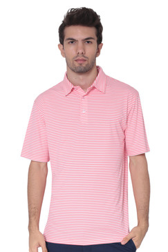 AVA Athletica Men's Polo Collar Moisture-Wick Active Wear Fine Striped T-Shirt Pink