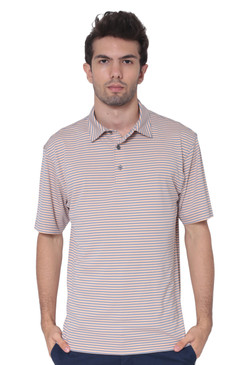 AVA Athletica Men's Polo Collar Moisture-Wick Active Wear Fine Striped T-Shirt Amber