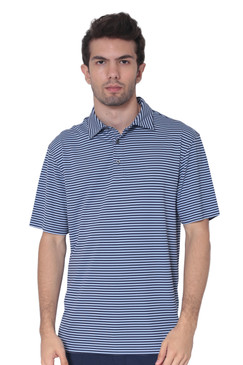 AVA Athletica Men's Polo Collar Moisture-Wick Active Wear Fine Striped T-Shirt Dark Blue