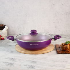 Wonderchef Royal Velvet Non-Stick, PFOA-Free and Nickel-Free Aluminum Indian Chinese Cuisine Stir Fry Wok with Lid, Violet