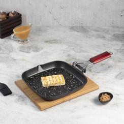 Wonderchef Die Cast Non-Stick Aluminum Wooden Handle Indian Cooking Folding Grill Pan, 24cm, Black