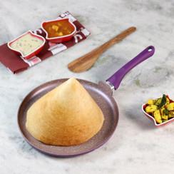 Wonderchef Royal Velvet Non-Stick, PFOA-Free and Nickel-Free Aluminum Indian Cooking Dosa Tawa Crepe Pan, 28cm, Violet