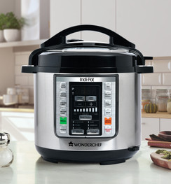 Wonderchef Indi-Pot 6 Quart Indian Cooking Multi-use Programmable 7-in-1 Stainless Steel Pressure Cooker, Steamer, Yogurt Maker, Sauté, Rice Cooker, Warmer and Slow Cooker with Indian Food Recipes; 6 Qts; Silver