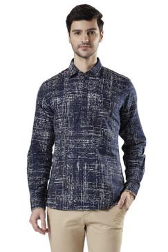 Ethnix Men's Pullover Cotton Indigo Kurta Tunic Shirt-Length with Regular Collar