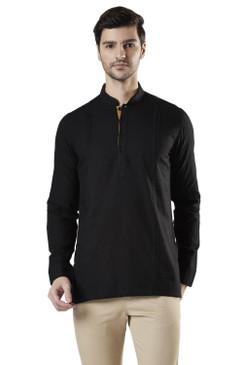 Ethnix Men's Mandarin Collar Cotton Pullover Shirt-Length Pintucked Kurta Tunic Black