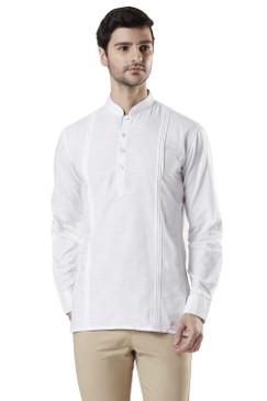 Ethnix Men's Mandarin Collar Cotton Pullover Shirt-Length Pintucked Kurta Tunic White
