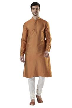Ethnix Men's Indian Banded Collar Silk Blend Comfortable Kurta Tunic Pajama Set Sand