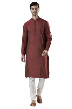 Ethnix Men's Indian Banded Collar Silk Blend Comfortable Kurta Tunic Pajama Set Goldfish