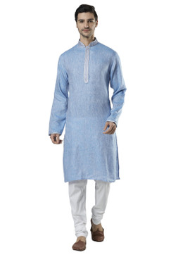 Ethnix Men's Embroidered Banded Collar Pure Linen Indian Kurta Tunic Pajama Set Sky Blue