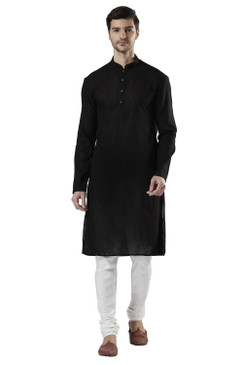 Ethnix Men's Indian Mandarin Collar Pure Cotton Textured Kurta Tunic Pajama Set Black