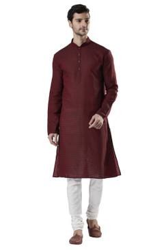 Ethnix Men's Indian Banded Collar Fine Thread Textured Kurta Tunic Pajama Set