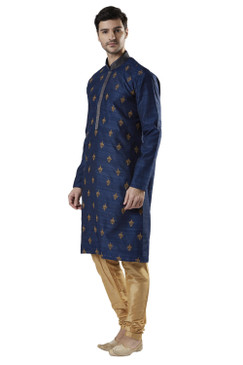Ethnix Men's Indian Banded Collar High Embroidery Festive Kurta Tunic Pajama Set
