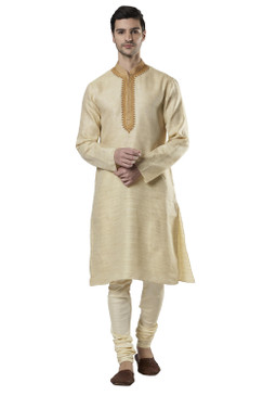 Ethnix Men's Indian Band Collar Fine Embroidered Placket Kurta Tunic Pajama Set