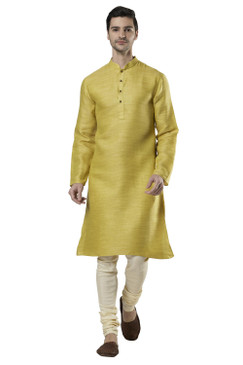 Ethnix Men's Indian Classic Collar Fine Textured Cotton Kurta Tunic Pajama Set
