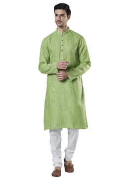 Ethnix Men's Indian Band Collar Micro Dobby Thread Print Kurta Tunic Pajama Set Mint Green