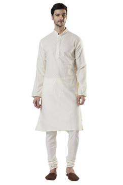 Ethnix Men's Indian Classic Embroidered Collar Placket Kurta Tunic Pajama Combo