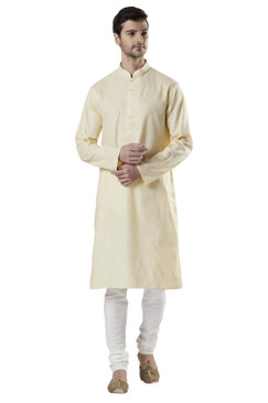 Ethnix Men's Indian Royal Hand-Embroidered Collar Placket Kurta Tunic Pajama Set