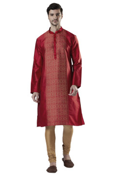 Ethnix Men's Indian Royal Classic Collar Festive Maroon Kurta Tunic Pajama Set