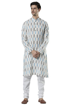 Ethnix Men's Indian Mandarin Collar Textured Ikkat Print Kurta Tunic Pajama Set