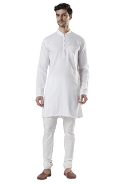 Ethnix Men's Indian Band Collar 100% Cotton Staple White Kurta Tunic Pajama Set