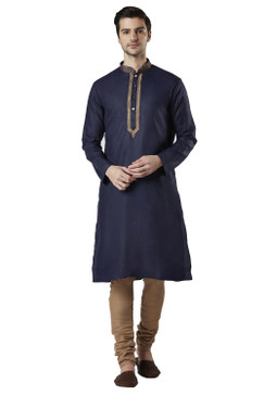 Ethnix Men's Indian Golden Embroidered Collar Placket Navy Blue 2-Piece Set