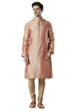 Ethnix Men's Indian Embroidered Banded Collar Festive Kurta Tunic Pajama Set Peach