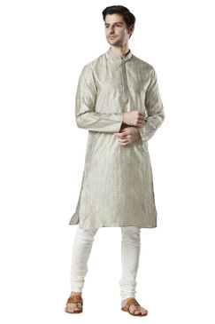 Ethnix Men's Indian Embroidered Banded Collar Festive Kurta Tunic Pajama Set Steel Gray
