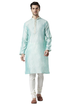 Ethnix Men's Indian All Over Embroidered Festive Cheerful Kurta Tunic Pajama Set