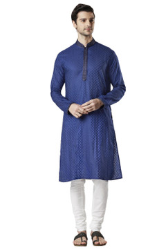 Ethnix Men's Indian Royal All-Over Embroidered Festive Kurta Tunic Pajama Set Navy Blue