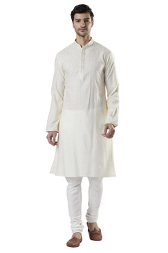 Ethnix Men's Indian Royal All-Over Embroidered Festive Kurta Tunic Pajama Set Royal Cream