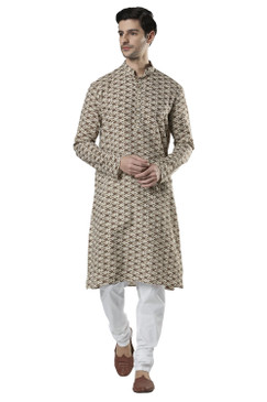 Ethnix Men's Banded Collar All-Over Diamond Print Indian Kurta Tunic Pajama Set