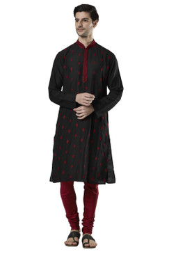 Ethnix Men's Indian Embroidered Mandarin Collar Festive Kurta Tunic Pajama Set Black