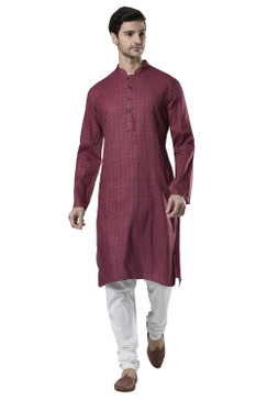Ethnix Men's Indian Band Collar Micro Dobby Thread Print Kurta Tunic Pajama Set Magenta