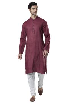 Ethnix Men's Indian Band Collar Micro Dobby Thread Print Kurta Tunic Pajama Set Magenta