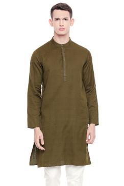 Shatranj Men's Indian Banded Collar Subtle Embroidered Placket Long Kurta Tunic Bottle Green