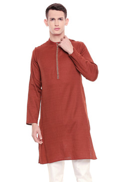 Shatranj Men's Indian Banded Collar Subtle Embroidered Placket Long Kurta Tunic Rust